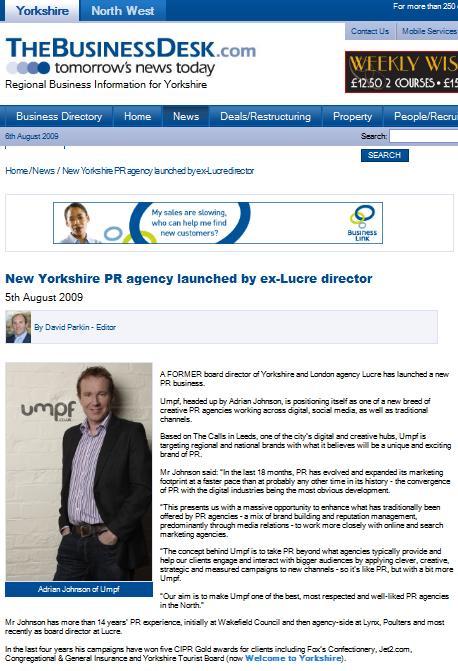 TheBusinessDesk.com Umpf launch