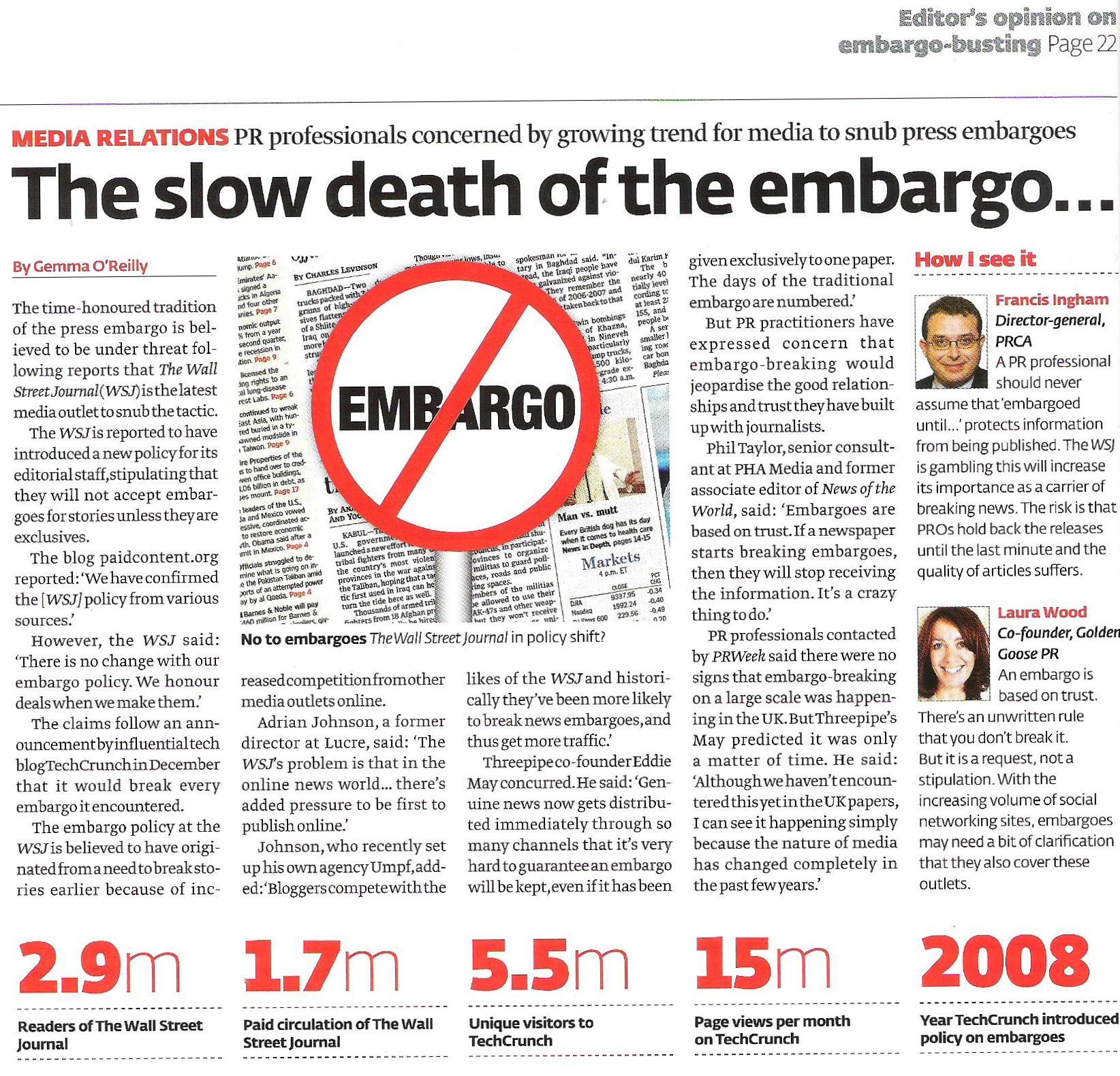 PR Week 14 Aug Embargoes