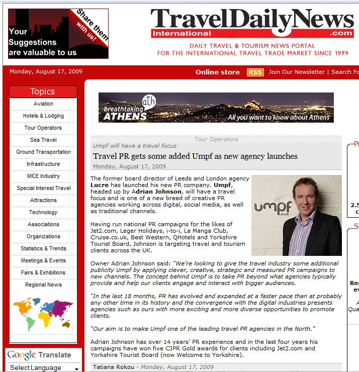 TravelDailyNews Umpf launch