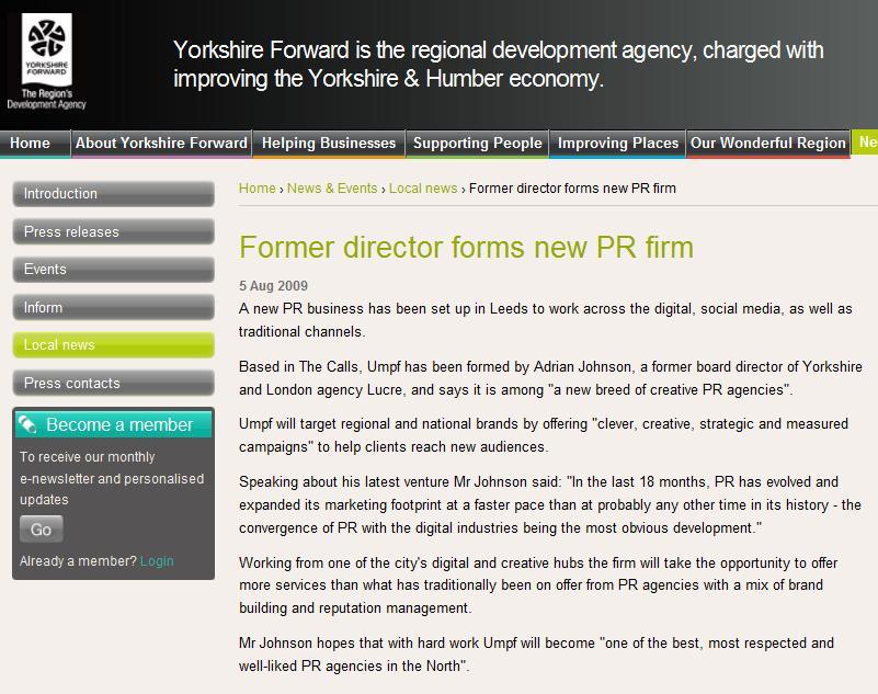 Yorkshire Forward Umpf launch