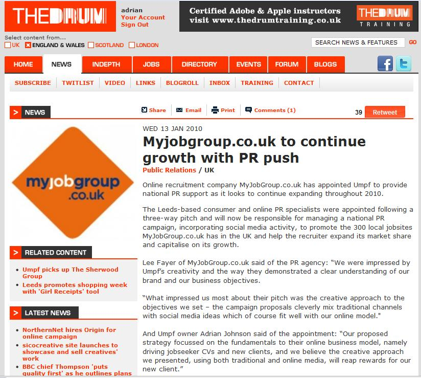 The Drum MyJobGroup.co.uk appointment 13 Jan 2010