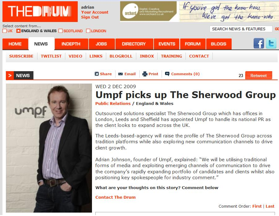 The Drum: Sherwood Group appointment 2 Dec 2009
