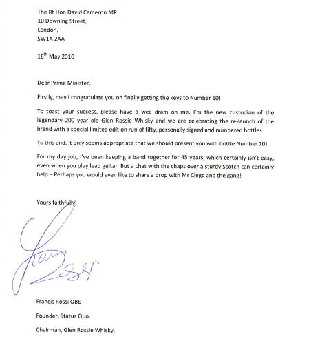 Francis Rossi letter