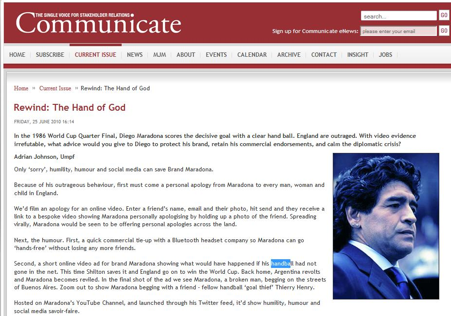 Communicate Magazine: Hand of God