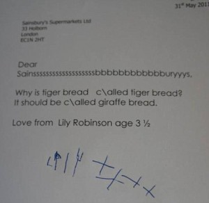 Giraffe Bread letter