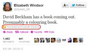 queen twitter account using promoted tweets
